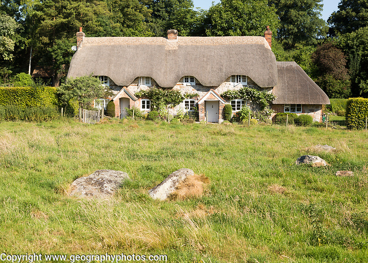Historic attractive thatched cottages, Lockeridge Dene, near Marlborough, Wiltshire, England, UK