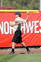 Casey Weathers of the Tri-City Dust Devils in the Northwest League working out prior to a game at Volcanoes Stadium, Keizer, OR. Weathers is a former first round draft choice who is rehabbing from Tommy John surgery..Photo by:  Bill Mitchell/Four Seam Images..