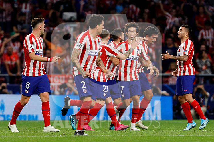 Players of Atletico de Madrid celebrate goal during UEFA Champions League match between Atletico de Madrid and Juventus at Wanda Metropolitano Stadium in Madrid, Spain. September 18, 2019. (ALTERPHOTOS/A. Perez Meca)