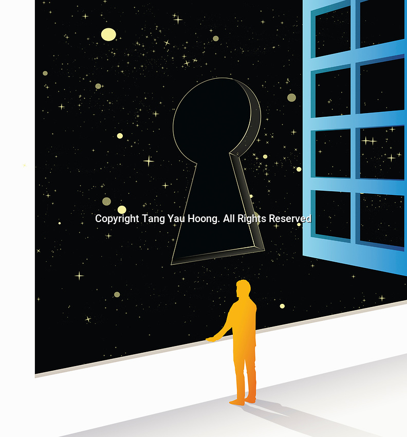 Man looking out of window at keyhole in night sky