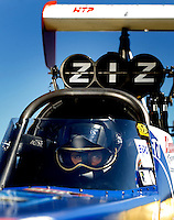 Sept. 5, 2010; Clermont, IN, USA; NHRA top fuel dragster driver T.J. Zizzo during qualifying for the U.S. Nationals at O'Reilly Raceway Park at Indianapolis. Mandatory Credit: Mark J. Rebilas-