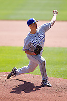Brandon Dorsett (33) of the Indiana State Sycamores delivers a pitch during a game against the Evansville Purple Aces in the 2012 Missouri Valley Conference Championship Tournament at Hammons Field on May 23, 2012 in Springfield, Missouri. (David Welker/Four Seam Images)