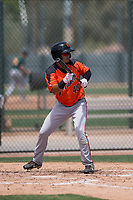 San Francisco Giants Orange outfielder Jose Patino (40) shows bunt during an Extended Spring Training game against the Oakland Athletics at the Lew Wolff Training Complex on May 29, 2018 in Mesa, Arizona. (Zachary Lucy/Four Seam Images)
