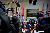U.S. President Donald Trump pauses while speaking as he meets with small business leaders in the Roosevelt Room of the White House in Washington, D.C., U.S., on Monday, Jan. 30, 2017. Trump defended the immigration clampdown that sparked a global backlash over the weekend by blaming the confusion at airports on protesters and on a computer outage at Delta Air Lines Inc. that caused flight cancellations. <br /> Credit: Andrew Harrer / Pool via CNP
