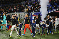 20191116 – LYON ,  FRANCE ; Lyon's  Eugenie Le Sommer, Sarah Bouhaddi and Selma Bacha are entering the pitch with their player escorts before the women's soccer game between Olympique Lyonnais and PARIS SG on the 9th matchday of the French Women's first league , D1 of the 2019-2020 season , Saturday 16 th November 2019 at the Groupama stadium in Lyon , France . PHOTO SPORTPIX.BE   SEVIL OKTEM