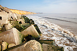 Concrete rectangular blocks protecting soft cliffs coastal defences at Easton Bavents, Southwold, Suffolk, England