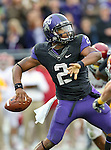 TCU Horned Frogs quarterback Trevone Boykin (2) in action during the game between the Iowa State Cyclones and the TCU Horned Frogs  at the Amon G. Carter Stadium in Fort Worth, Texas. Iowa State defeats TCU 37 to 23....