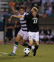 The number 5 ranked Charlotte 49ers play the University of South Carolina Gamecocks at Transamerica field in Charlotte.  Charlotte won 3-2 in the second overtime.  Braeden Troyer (13), Giuseppe Gentile (11)