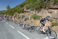 Christopher Froome (r) and Alberto Contador (2r) leading the gruop during the stage of La Vuelta 2012 between Barakaldo and Valdezcaray.August 21,2012. (ALTERPHOTOS/Paola Otero) /NortePhoto.com