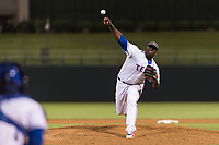 AFL West relief pitcher Demarcus Evans (30), of the Surprise Saguaros and Texas Rangers organization, delivers a pitch during the Arizona Fall League Fall Stars game at Surprise Stadium on November 3, 2018 in Surprise, Arizona. The AFL West defeated the AFL East 7-6 . (Zachary Lucy/Four Seam Images)