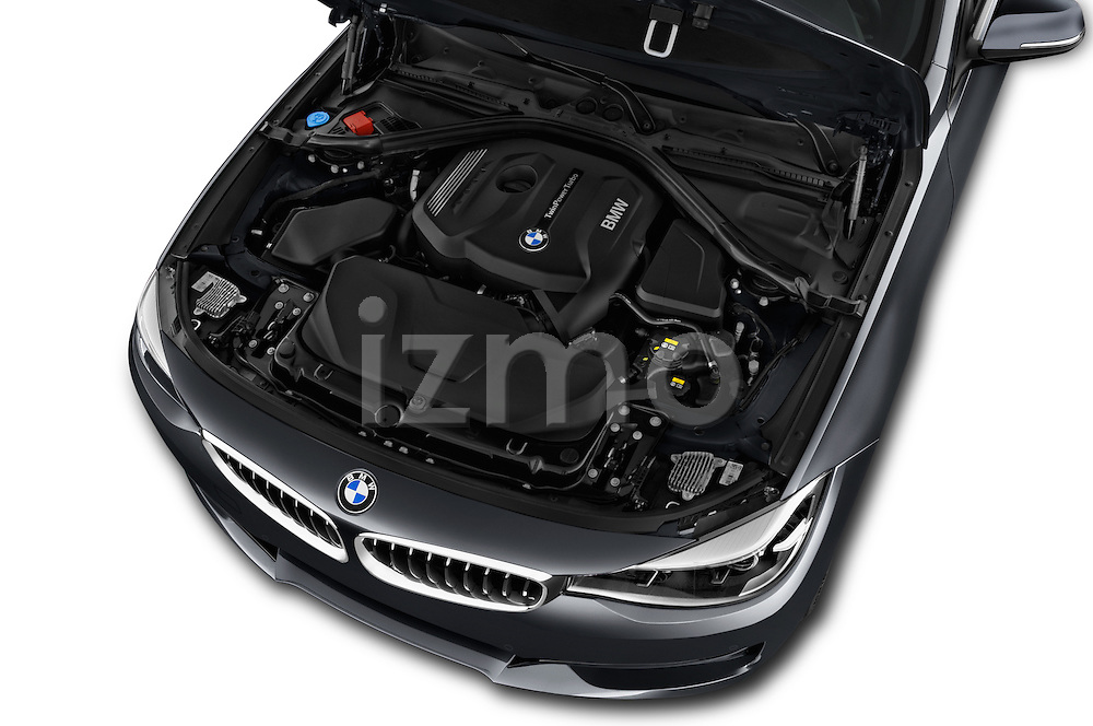 Car Stock 2017 BMW 3-Series-GT Sport 5 Door Hatchback Engine  high angle detail view