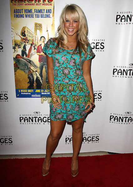 "CHELSIE HIGHTOWER.Broadway Musical Los Angeles premiere Of  ""In the Heights"" held at The Pantages Theatre, Hollywood, CA, USA..June 23rd, 2010.full length dress blue pink green turquoise floral print dress.CAP/ADM/KB.©Kevan Brooks/AdMedia/Capital Pictures."