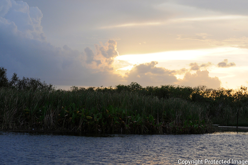 Beautiful pastel color sky at sundown. Photographed at Arthur Marshall Loxahatchee Preserve, Boynton Beach, Florida.