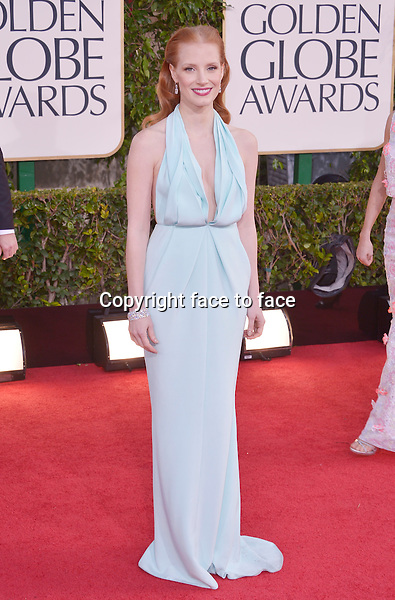 Jessica Chastain arriving at the 70th Annual Golden Globe Awards held at The Beverly Hilton Hotel on January 13, 2013 in Beverly Hills, California...credit: face to face