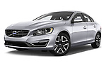 Stock pictures of low aggressive front three quarter view of 2017 Volvo S60 T5 4 Door Sedan Low Aggressive