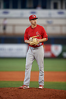 Palm Beach Cardinals relief pitcher Will Latcham (26) gets ready to deliver a pitch during a game against the Charlotte Stone Crabs on April 21, 2018 at Charlotte Sports Park in Port Charlotte, Florida.  Charlotte defeated Palm Beach 5-2.  (Mike Janes/Four Seam Images)
