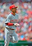 12 April 2012: Cincinnati Reds infielder Wilson Valdez in action against the Washington Nationals at Nationals Park in Washington, DC. The Nationals defeated the Reds 3-2 in 10 innings to take the first game of their 4-game series. Mandatory Credit: Ed Wolfstein Photo
