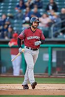 Mac Williamson (9) of the Sacramento River Cats bats against the Salt Lake Bees at Smith's Ballpark on April 12, 2019 in Salt Lake City, Utah. The River Cats defeated the Bees 4-2. (Stephen Smith/Four Seam Images)