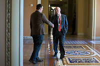 Reporter for the New York Times, Jonathan Martin, left, speaks with White House Legislative Director Marc Short, right, near the Senate Chamber in the US Capitol in Washington, D.C. on Friday, December 1, 2017. <br /> Credit: Alex Edelman / CNP /MediaPunch