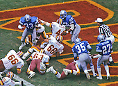Washington Redskins running back John Riggins (44) scores a touchdown during the game against the Detroit Lions at RFK Stadium in Washington, D.C. on October 13, 1985.  The Redskins won the game 24 - 3..Credit: Arnie Sachs / CNP