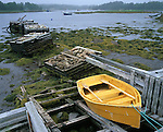 Halifax County, Nova Scota<br /> Yellow sliff on a wooden launching ramp at low tide.<br /> Glen Margaret village, Glen Margaret Bay