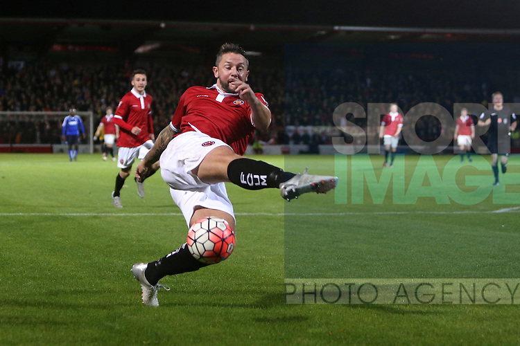Rory Patterson miskicks, wasting a precious chance on goal - FC United vs Chesterfield - The Emirates FA Cup - Broadhurst Park - Manchester - 09/11/2015 Pic Philip Oldham/SportImage