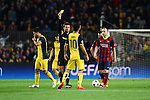 UEFA Champions League 2013/2014.<br /> Quarter-finals 1st leg.<br /> FC Barcelona vs Club Atletico de Madrid: 1-1.<br /> Felix Brych, Arda Turan &amp; Andres Iniesta.