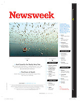 Man feeding birds on the Yamuna River, Delhi, India. Newsweek Table of Contents Page, October 2015