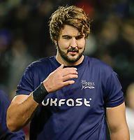 6th March 2020; AJ Bell Stadium, Salford, Lancashire, England; Gallagher Premiership Rugby, Sale Sharks versus London Irish;   Lood de Jager of Sale Sharks prepares for his first time on the replacements bench for his club since the world cup