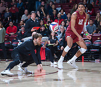STANFORD, CA - March 2, 2019: Kyle Dagostino, Jaylen Jasper at Maples Pavilion. The Stanford Cardinal defeated BYU 25-20, 25-20, 22-25, 25-21.