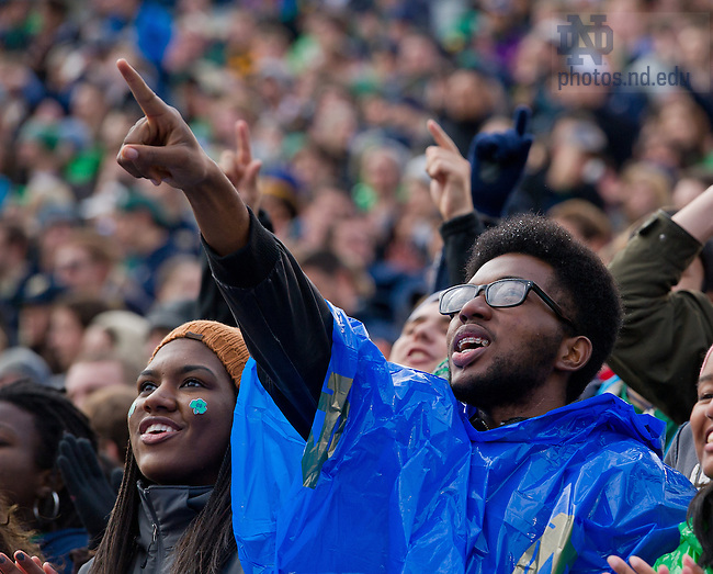 Nov. 2, 2013; Students point to the sky as the Blue Angels maneuver after their flyover of Notre Dame Stadium before the Navy game.<br /> <br /> Photo by Matt Cashore