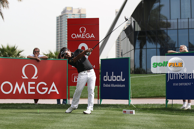 Thongchai Jaidee (THA) in action on the 9th tee during Thursday's Round 1 of the 2012 Omega Dubai Desert Classic at Emirates Golf Club Majlis Course, Dubai, United Arab Emirates, 9th February 2012(Photo Eoin Clarke/www.golffile.ie)
