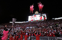 Fireworks erupt on the top of the south stands after a Kenny Guiton touchdown in the third quarter of the NCAA football game against Penn State at Ohio Stadium in Columbus on Oct. 26, 2013. (Adam Cairns / The Columbus Dispatch)