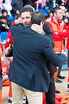 Atletico de Madrid's coach Diego P. Simeone and Real Betis's coach Juan Merino during BBVA La Liga match. April 02,2016. (ALTERPHOTOS/Borja B.Hojas)