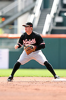 May 9, 2009:  Second Baseman Justin Turner of the Norfolk Tides, International League Class-AAA affiliate of the Baltimore Orioles, in the field during a game at Coca-Cola Field in Buffalo, FL.  Photo by:  Mike Janes/Four Seam Images
