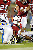 Alex Smith scores a td during Stanford's 63-26 win over San Jose State on September 14, 2002 at Stanford Stadium.<br />