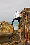 Man Watching Waves In Jaffa