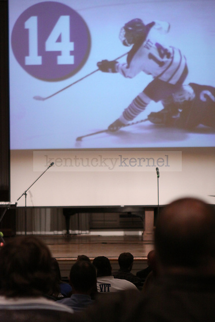 A memorial service is held for UK student and hockey player Taylor Vit at Memorial Hall Monday night. Photo by Scott Hannigan | Staff