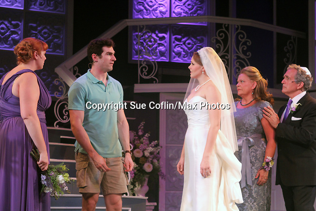 """Guiding Light's Kim Zimmer stars with Molly Tower, Kevin Toniazzo-Naughton, Kayleen Seidl and Joel Briel in """"It Shoulda Been You"""" - a new musical comedy - at the Gretna Theatre, Mt. Gretna, PA on July 30, 2016. (Photo by Sue Coflin/Max Photos)"""