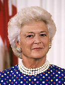 First lady Barbara Bush hosts Presidential Medal of Freedom ceremony with her husband United States President George H.W. Bush, in the East Room of the White House in Washington, DC on July 6, 1989.  The Medal of Freedom is the highest civilian award of the US.<br /> Credit: Ron Sachs / CNP