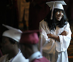 Afi Geffrard, enjoying the moment, Monday, June 18, 2012, prior to the Windsor High School graduation ceremony at the Bushnell Theater in Hartford. (Jim Michaud/Journal Inquirer)