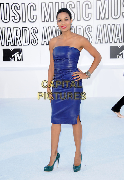 ROSARIO DAWSON .at The 2010 MTV Video Music Awards held at Nokia Theatre L.A. Live in Los Angeles, California, USA, .September 12th 2010..Arrivals Vmas full length blue strapless dress green platform patent shoes hand on hip leather.CAP/RKE/DVS.©DVS/RockinExposures/Capital Pictures.