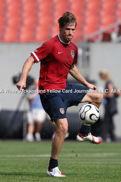 25 May 2006,  Forward, Brian McBride controls a ball before taking a shot on goal during practice.  The USA Mens National soccer team held a practice session before taking on Venezuela in an international friendly match at Cleveland Browns Stadium in Cleveland, Ohio in their preparation for competition at World Cup 2006 in Germany.