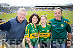 Cian Sugrue and Chris Sugrue (Kenmare) with Ciara Kearney and Tom Kearney (Firies), cheering on Kerry at the Munster minor and senior final, held in Fitzgerald Stadium, Killarney on Sunday last.