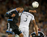 Stanford, California - Saturday June 30, 2012: Victor Bernardez and David Junior Lopes fights for the ball during a game at Stanford Stadium, Stanford, Ca. San Jose Earthquakes defeated Los Angeles Galaxy,  4 to 3