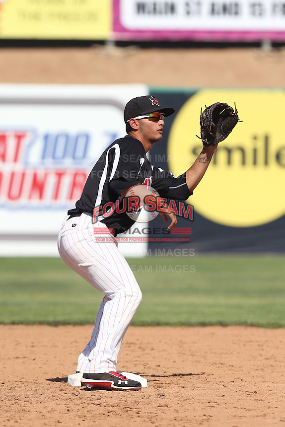 Tim Lopes #3 of the High Desert Mavericks during a game against the Rancho Cucamonga Quakes at Stater Bros. Stadium on May 27, 2014 in Adelanto, California. High Desert defeated Rancho Cucamonga, 5-4. (Larry Goren/Four Seam Images)