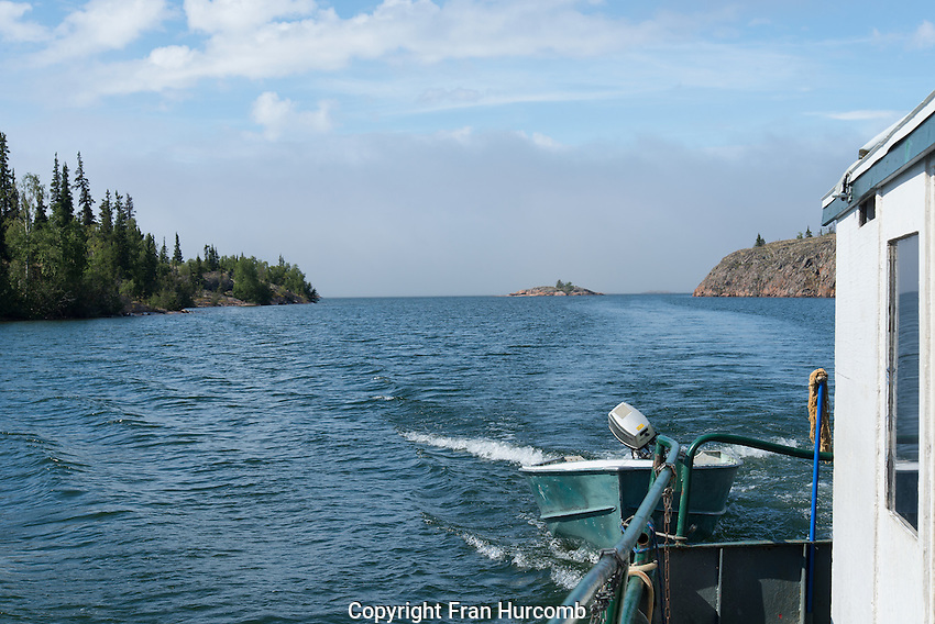 Looking back from boat in Devil's Channel Great Slave lake