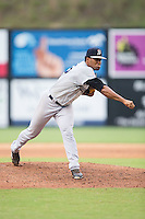 Pulaski Yankees starting pitcher Abel Duarte (45) follows through on his delivery against the Danville Braves at American Legion Post 325 Field on August 2, 2016 in Danville, Virginia.  The game was cancelled due to rain.  (Brian Westerholt/Four Seam Images)