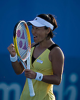 Kimiko Date Krumm (JPN) against Nadia Petrova (RUS) in the first round of the Ladies Singles. Date Krumm beat Petrova 6-3 5-7 6-4...International Tennis - Medibank International Sydney - MON 11 Jan 2010 - Sydney Olympic Park  Tennis Centre- Sydney - Australia ..© Frey - AMN Images, 1st Floor, Barry House, 20-22 Worple Road, London, SW19 4DH.Tel - +44 20 8947 0100.mfrey@advantagemedianet.com
