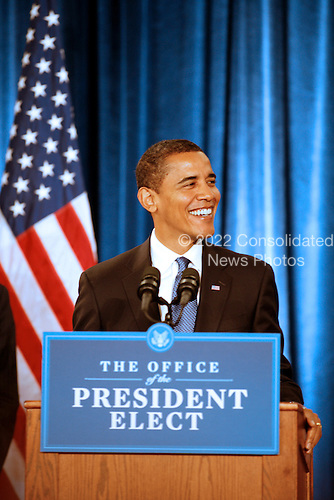Chicago, IL - November 25, 2008 -- United States President-elect Barack  Obama presents his economic team, Peter Orszag (not pictured), as Director of the Office of Management and Budget (OMB)  and Rob Nabors, (not pictured) as Deputy Director  of OMB at his third press conference at the Chicago Hilton & Towers in Chicago, Illinois on Tuesday, November 25, 2008..Credit: Steve Leonard - Pool via CNP